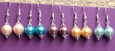 Wholesale! set of 5 Pair glass faux pearl tibet silver dangle earrings mix color