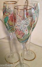 Euroglass 3 Mouth Blown Handmade Romania Champagne Flutes Glasses Butterflies