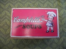 Vintage Collectible Old Campbell's Condensed Soups Wooden Recipe Box w/ dividers