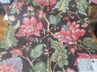 "Vintage PINDLER & PINDLER  Fabric Remnant - ADONIA - Ebony Floral - 27"" x 27"""