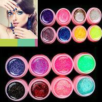 16 x Mischung Farben Nagel Kunst Profi Glitzer Nail Art Tips UV Gel Set w