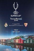 VIP Menu Card UEFA Super Cup 2016 Real Madrid vs Sevilla FC (Trondheim)