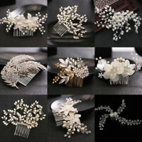 Crystal Flower Wedding Bridal Pearl Hair Pins Clips Bridesmaid Side Comb Jewelry