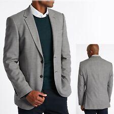 M&S Mens SLIM FIT Textured BLAZER JACKET ~ Size 46 Long ~ GREY