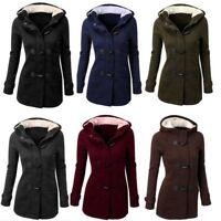 Women's Slim Long Coat Winter Warm Buckle Jacket Outwear Parka Hooded Trench