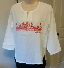 Women's 100% Cotton Khmer Angkor Wat Hippie V-Neck Beach Yoga T-Shirt Size M