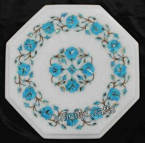 Turquoise Stone Inlay Work Marble Side Table White Coffee Table Top 12 Inches