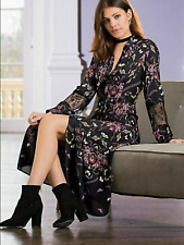 Together Size 18 Black Button Through Floral Midi Shirt DRESS Lace Trims £69