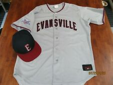 EUC VINTAGE EVANSVILLE OTTERS FRONTIER MINOR LEAGUE GAME JERSEY & HAT RAWLINGS
