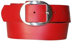 FRONHOFER Inexpensive real leather women's belt, oval antique silver buckle