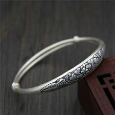 Pure S999 Sterling Silver Lucky Peony Flower Adjustable Bangle Bracelet/ 23.4g