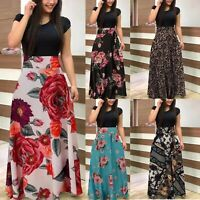 Women Short Sleeve Canonicals Summer Floral Fashion Plus Size Maxi Sexy Dress