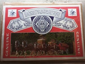 """Vintage Budweiser Anheuser Busch Poster  Label Clydesdales 20"""" x 14"""" Rare"""