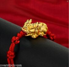 New 24K Yellow Gold 3D Pixiu Bead Red Cord Knitted Bracelet
