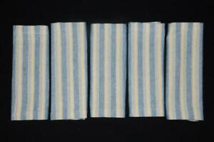 Set Of 5 Park Designs Striped Loomed Place Mats Blue Yellow Woven Cotton