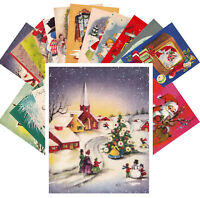 Postcards Pack [24 cards] Vintage Christmas Card Mix Cute Kitten Angel CE5004