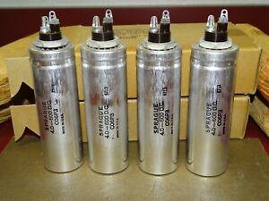 4 Sprague Can Filter Capacitors, 4 MFD @ 600 VDC, NOS, Screw Base