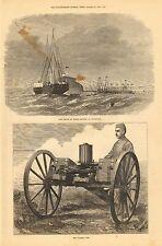 Gatling Gun, Military Weapon, w/text, Vintage 1872 Antique Art Print