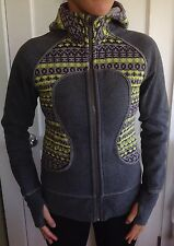 Lululemon Size 4 Scuba Hoodie Jacket Sweater Fair Isle Knit SE Gray Yellow EUC