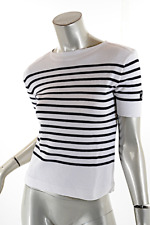 Le Phare de la Baleine White Cotton Blend Navy Striped 'Nautical' Sweater  Sz M