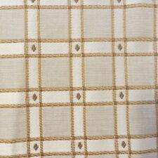 "Designer Fabric Gold Ivory Tan Plaid Cotton Drapery Upholstery 5 Yards 56"""