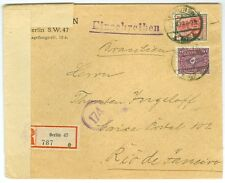GERMANY/REICH: Registered censored cover to Brazil 1922, arr canc.