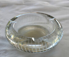 Vintage Clear Crystal Glass Controlled Bubble Ashtray Art Retro