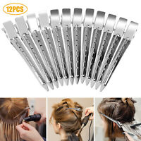 12Pcs Metal Sectioning Clamps Hairdressing Cutting Hair Wave Alligator Clips