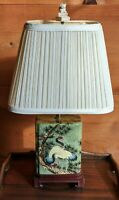 """Vintage Green Porcelain Chinoiserie Lamp w shade Oriental 17.5"""""""