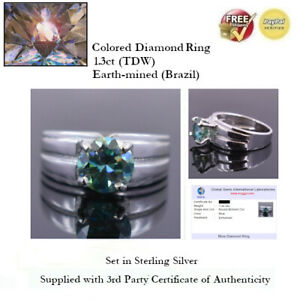 1.3ct (TDW) Blue Diamond Solitaire Ring - Sterling Silver + COA (GGIL)