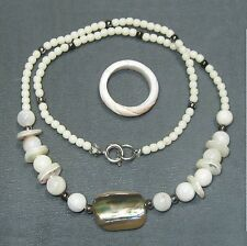 MOP mother-of-pearl & abalone necklace & shell ring B12