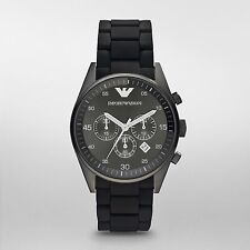 Emporio Armani AR5889 Men Sport Silicone Black Chronograph Watch SHIP FROM U.S.A