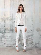 "$775 IRO ""Lewis"" Lace and Leather Jacket SZ 0 XS Ivory Guipure Cutout Crochet"