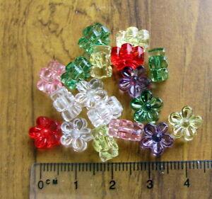 60 transparent acrylic plastic flower beads 9mm chunky daisy cute choose colour