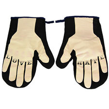 Love Hate Oven Gloves. Mans Tattoo Knuckles Mits Comedy For Him