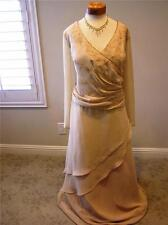 NWT La Belle 7580 SILK Tiered occasion formal social MOB dress Honey gold 24