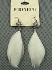 "Big 3""long White Feather Rhinestone Crystal Earrings Diamante Ball Silver Tone"