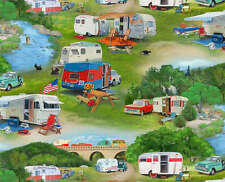 Vintage Trailers Camping Scenic Cotton Elizabeth's Studio #5959 By the Yard