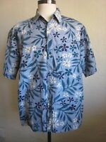 Campia Moda Vintage Cotton Hawaiian Shirt Blue and White Flowers Size XL