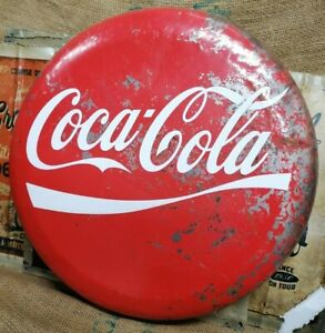 Industrial Metal Coca Cola Bottle Top Lid Style Hanging Sign SU17