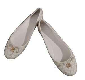 Tory Burch Prescot Weaved Patent Leather Flats  Size 6 Ivory