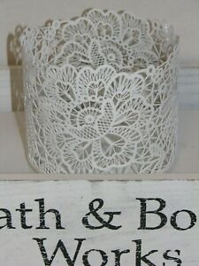 Bath Body Works 3-wick Candle Sleeve Holder LACE FLORAL Flowers WHITE BBW