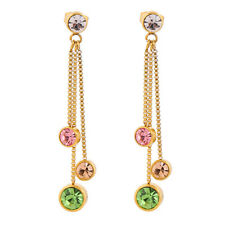 18K Gold Plated Stainless Steel Colorful Diamonds Charm Dangle Drop Earrings
