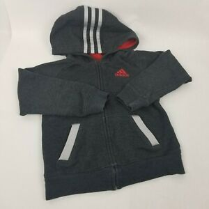 Boys SIZE 5 Adidas Zip-Up Hoodie Gray and Red