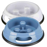 Trixie Slow Feeder Anti Gulp Dog Plastic Bowl Pet Food Feed 3 Sizes 2 Colours
