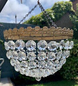 Vintage Chandelier Retro Basket Antique Design Metal Frame Crystal