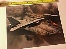 U.S. Navy F-14 Fighter Over Burning Kuwait Oil Fields 1991 8x10 Photo VF-114 NH