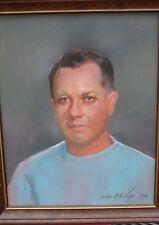 John de la Vega Pastel Male PortraIt Signed & Dated 1970s Miami Florida