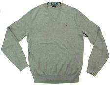 Ralph Lauren Jumper Grey V Neck Pima Thin Cotton Size Extra Small XS RRP £110