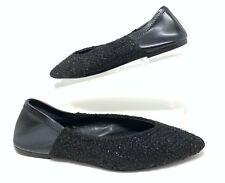 Zara Women's Shoes Black Tweed Ballet Flats EU 37 US 6.5 Collapse Heels 6534/301